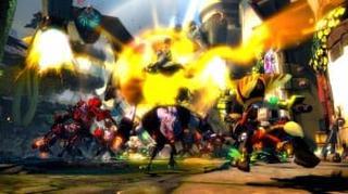 Ratchet envoie une salve de roquettes sur un groupe d'ennemis, causant une énorme explosion.