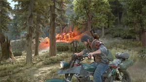 Deacon se prépare à fuire après avoir lancé un cocktail molotov sur une Horde de mutants se dirigeant vers lui.