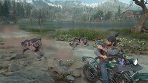 Un groupe de loups infectés poursuivent Deacon à moto lancée à pleine vitesse.
