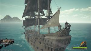 Nos personnages voyagent sur leur grand navire de guerre dans le monde des Pirates des Caraïbes.