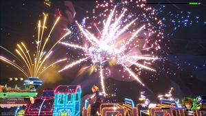 Sora lance une attaque spéciale sur un Géant de Roche, l'écran est plein de lumières et de feux d'artifices.
