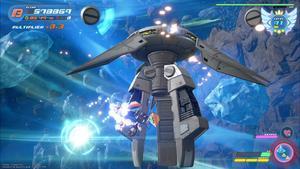 Un combat Gummi dans l'espace contre un énorme vaisseau.