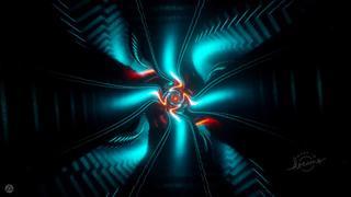 Visualisateur de musique aux couleurs vives et néon qui dansent avec des formes géométriques en rythme avec la musique.