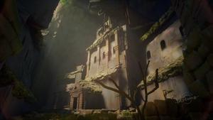 Un vieux bâtiment d'une civilisation oubliée se tient dans une caverne où un petit espace laisse entrer des rayons de soleil dorés sur la structure, produisant une ambiance magique et majestueuse.