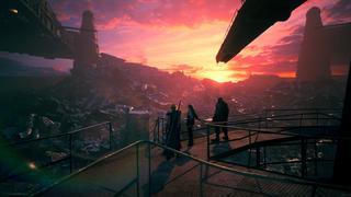Cloud, Tifa et Barrett contemplent un secteur de Midgar du haut d'une tour, tandis que le soleil se couche à l'horizon, donnant une superbe teinte au ciel.