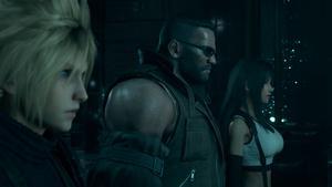 Cloud, Tifa et Barrett vus de côté de près, nous laissant voir tous les détails de leurs visages.