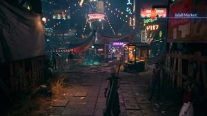 Cloud arrive au Wall Market de nuit où plein de lumières sont allumées.