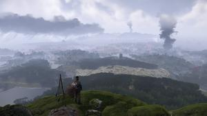 Jin analyse son île du haut d'une falaise, où de nombreuses colonnes de fumée de noire sont visibles.