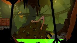 Troy se jette au-dessus d'un petit lac d'acide fluorescent pour rejoindre l'autre côté.