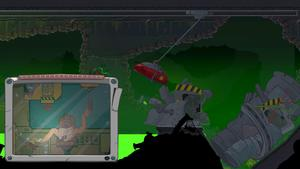 Le protagoniste est dans une petite cabine comme on verrait sur un terrain de construction dans une grue avec des leviers à manipuler pour bouger un gros aimant.