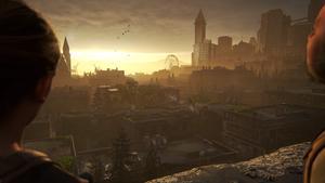 Vue d'un balcon assz haut, notre personnage regarde la ville ravagée par le temps, baignée dans la lumière du soleil couchant.