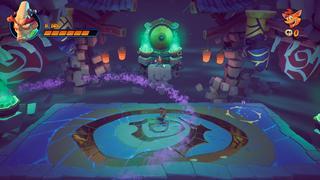 Crash est sur une plateforme dans le vide pendant que le docteur N. Brio sur tient sur une plus petit plateforme en hauteur, tenant des béchers dans chaque main.