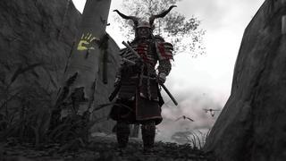 Jin se tient avec son armure complète qui imite les couleurs de Kratos de God Of War et les chaînes autour des avant-bras, tout en se tenant à côté d'un arbre avec une hache planté dedans, et avec la marque d'une main sur le tronc qui brille d'une couleur jaune.
