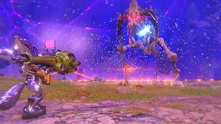 Rivet pointe un Négociateur (lance-missiles) vers un ennemi qui est un squelette réanimé d'un Grunthor, une sorte de dinosaure assez conséquent.