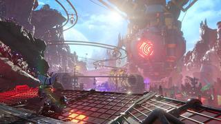 Rivet et Clank se trouvent sur une plateforme au premier plan au-dessus d'une rivière de lave avec des petites montagnes en fond et une énorme machine qui est un laser pointé directement vers le sol pour extraire du minerai. Entre les deux, tout un système de rails suspendus, des tunnels métalliques et des machines de minage.