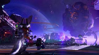 Rivet et Clank se tiennent devant les débris d'une station de minage sur une planète qui a explosé, causant de nombreuses machines à flotter dans l'espace.